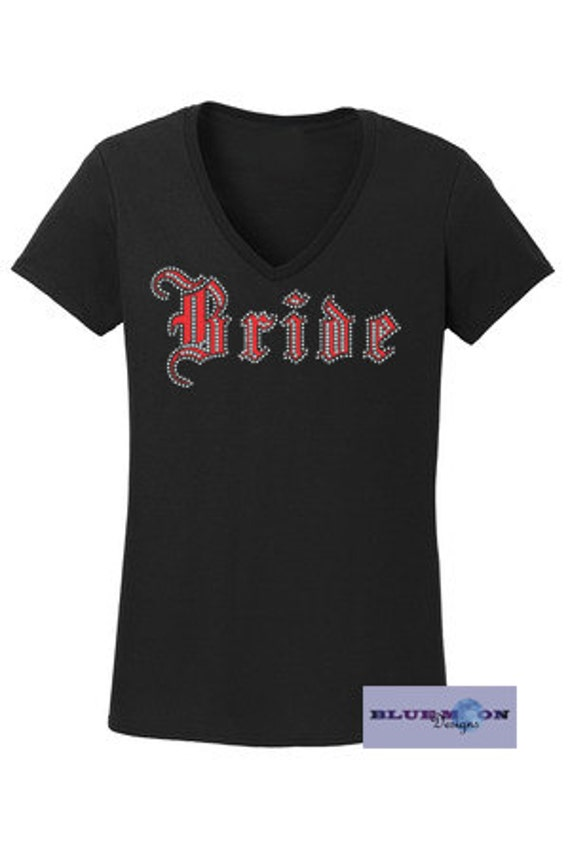 Bride in Script Rhinestone and Vinyl T-Shirt Made to order