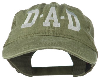 DAD Grey Letter Embroidered Washed Cotton Cap