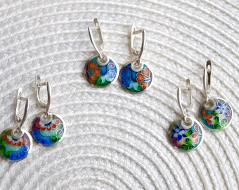Fine silver, Cloisonne enamel Earrings - flowers