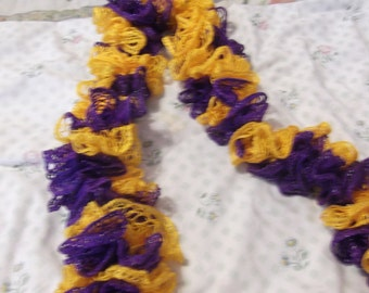 Hand Crocheted Team Color Ruffle Scarf