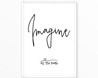 Beatles quote Print, Imagine, motivational, scandinavian Poster, printable, Typography, Poster, Inspirational Home Decor, wall art, gift