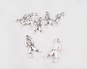 BCP06 - Charm pendant Zombie Vampire horror death living money aged reasons on both sides / Zombies Silver alloy charm during