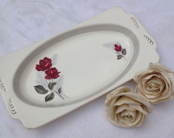 Really Lovely Red Rose Wood & Sons Vintage Sandwich Plate/Cake Plate