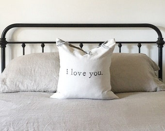 Farmhouse Typography Pillow - i love you.