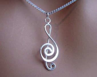 Music Sterling Silver Treble Cleff Charm Pendant Womens Jewelry Gift