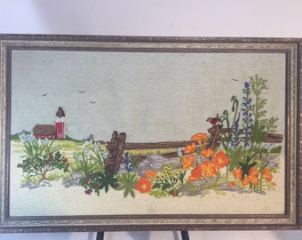 Vintage fabric, cabint ,flowers ,bird flying 22in. x 12in.