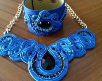 soutache necklace and bracelet set