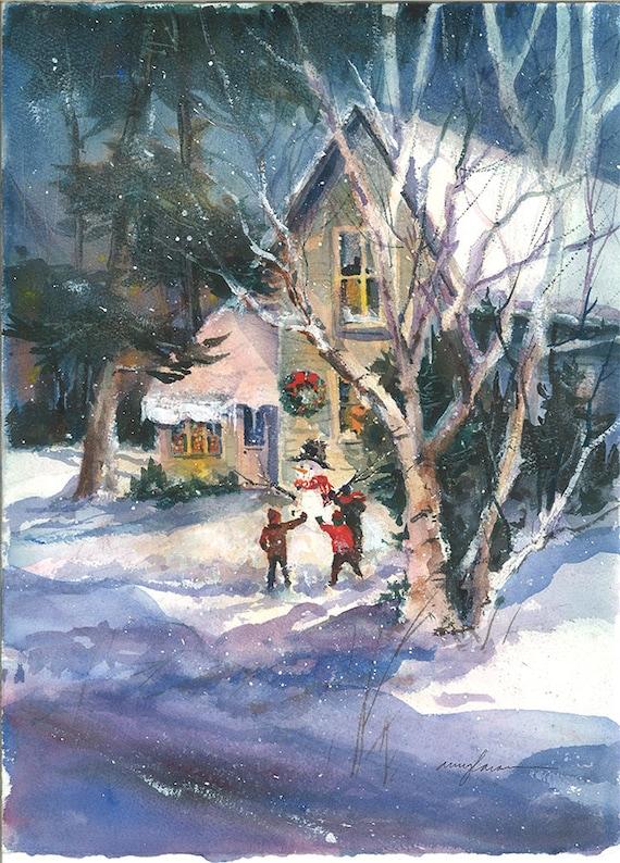 Building a Snowman Art Print