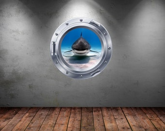 3D Shark Silver Porthole Wall Sticker
