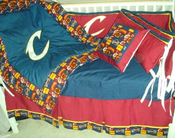 Cleveland Cavaliers Custom Made 8 pc (or made bumperless or in pink) nursery baby crib bedding set mw NBA Cleveland Cavaliers fabric NEW
