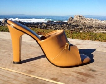 Mad Men Polly of California Open Toe Heels / Mules