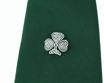 Celtic Shamrock Tie tack, Hat pin, Lapel Pin, Silver Accessories, Mens Gifts, Groomsmen Gifts, Celtic Tie Tack, Irish Tie Tack, Wedding Gift