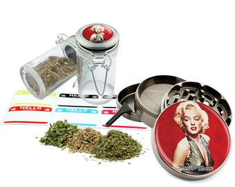 "Marilyn Monroe - 2.5"" Zinc Alloy Grinder & 75ml Locking Top Glass Jar Combo Gift Set Item # 50G012516-15"