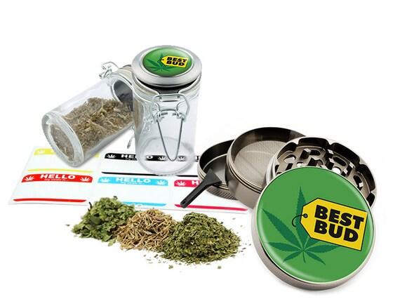 "Best Bud - 2.5"" Zinc Alloy Grinder & 75ml Locking Top Glass Jar Combo Gift Set Item # G50-8715-2"