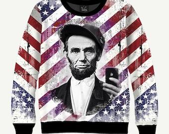Abraham Lincoln, Take Photo, 16th President Of USA - Men's Women's Sweatshirt | Sweater - XS, S, M, L, XL, 2XL, 3XL, 4XL, 5XL