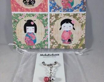 Kokeshi doll keychain