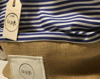 La goffa beachbag _ blu stripes
