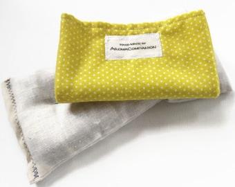 Gift for Girlfriend, Organic Eye Pillow, Heachache Relief Pillow, Yellow Dotted Relax Pillow, Yoga Eye Pillow, Scented Eye Pillow