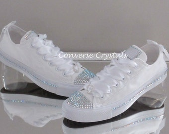 Bridal Mono White Custom Crystal *Bling* Converse With Side Crystals. Various Options Available.