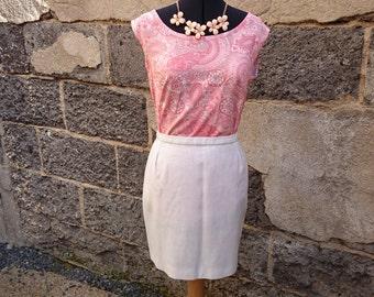 Mini skirt white linen vintage