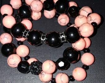 black and peach beads