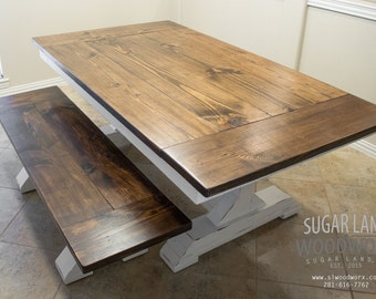 Trestle Farmhouse Dining Table with Sliding Breadboard and Removable Leaves