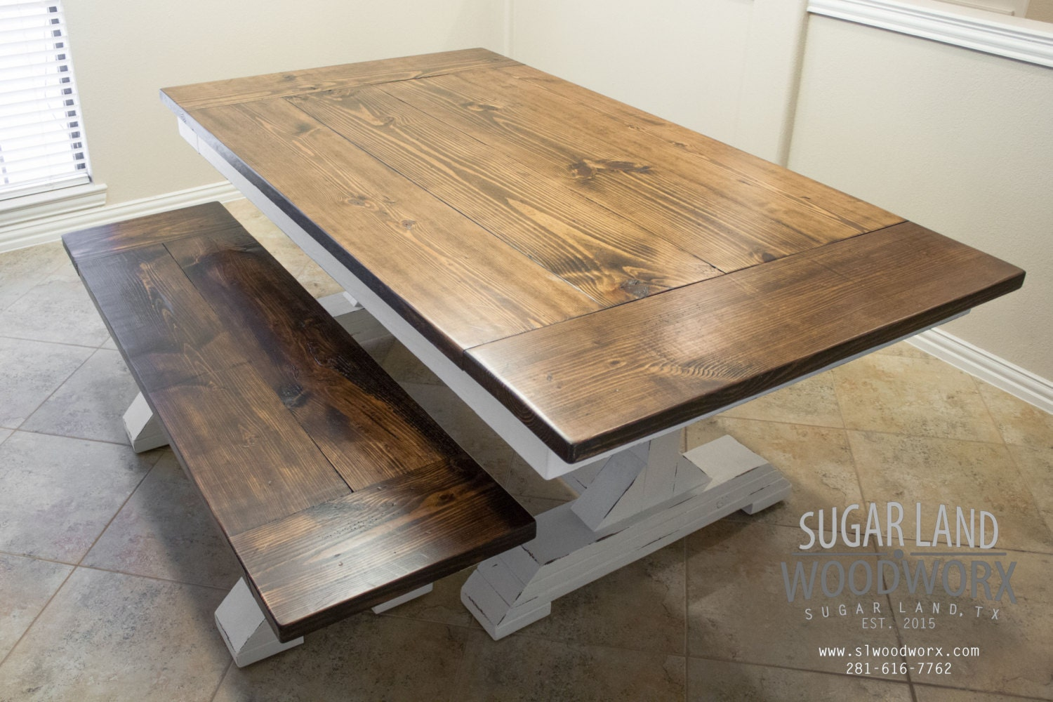 Trestle Farmhouse Dining Table With Sliding Breadboard And