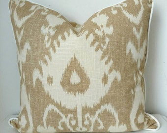 Ikat pillow cover,decorative throw pillow cover,Sand and off white,Portfolio Textiles,20x20, with piping,contemporary,linen,accent pillow