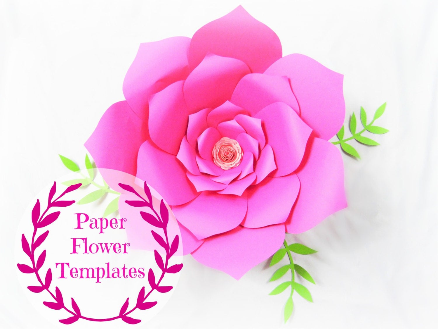 Diy wedding paper flowers flower templates svg cut files for Free printable paper flower templates