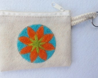 cotton purse, needle felted flower, wool