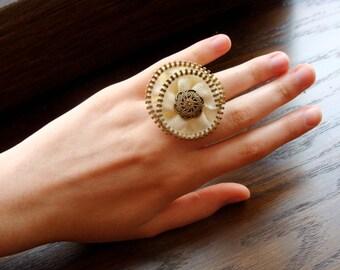 Zipper Ring, Zipper Jewelry, White Ring, Handmade Ring, Adjustable Ring, Gift for her
