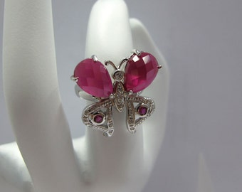 lovely butterfly silver ring with ruby stone