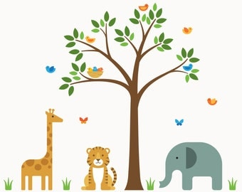 Jungle Animal Wall Decals, Jungle Animal Wall, Jungle Wall Decals - Large