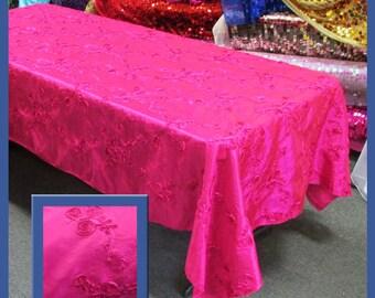 Fuchsia Ribbon Taffeta 58 X 108 Rectangle Tablecloth