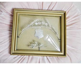 Antique German Wedding Crown and Corsage, curved Glass Frame, Silver Metal Myrtle Tiara, Edwardian Tiara, German Metal Leaves