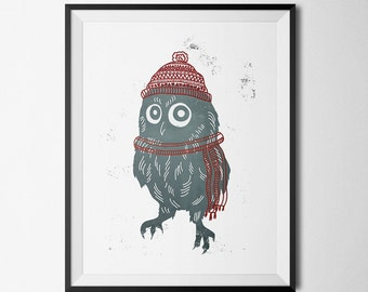 Winter Owl in hat and scarf wall art (to print at home)