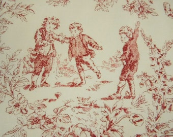 1 Yard x 36 Inch Pink on White Cream Children at Play Toile Cotton Fabric Upholstery Crafting Drapery
