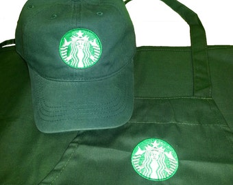 Halloween costume New Logo Starbucks barista apron and hat set,both adjustable one size fit all