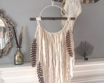 Large Dream Catcher with Branch - Feather Dream Catcher - Bohemian Dreamcatcher - Feather Wall Hanging - Cloth Dreamcatcher- Turkey Feathers