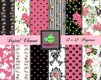Digital Scrapbook Paper, Shabby Rosa Digital Paper, Pink Rose Digital Paper, Hot Pink and Black Digital Paper. No. V7.25.DA
