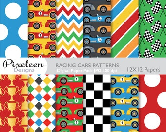 Cars Digital Paper, Cars Patterns, chevron ,polka dots, stripes, scrapbooking, invitations, paper crafts, INSTANT DOWNLOAD