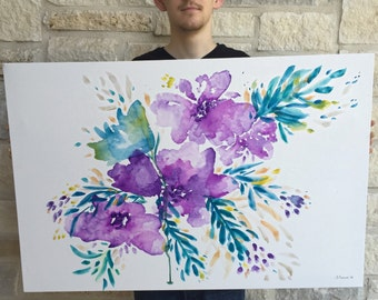 22 x 28 inch Watercolor Floral Canvas Painting