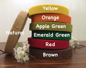 "7/8"" Colored Jute Burlap Ribbon - 5, 10, 20 yards - HBCA12S4"