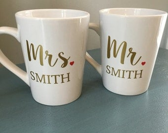 Personalized Mr Mrs mugs, Gifts for Bride to be, Bridal shower gift, wedding gift, personalized mug