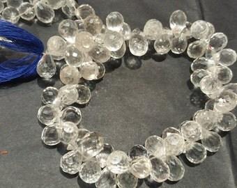 Crystal Quartz Faceted Drop shape 8x11, Clear Crystal briolette