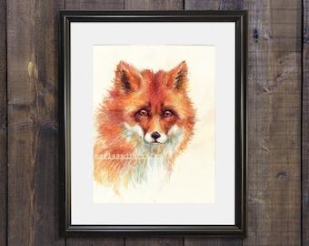 Fox Wall Art Nature Lover Gift Watercolor Drawing Fine Art Print Animal