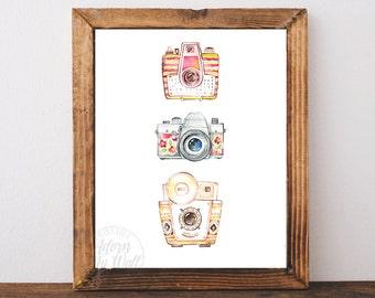 Vintage camera print, retro, wall art, photographer gift, poster, camera art, camera poster, camera, home decor, camera print, camera art