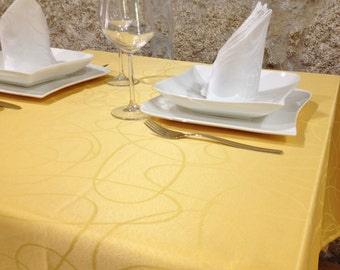 Luxury Gold Tablecloth - Anti Stain Proof Resistant - Large sizes - Ref. Lines