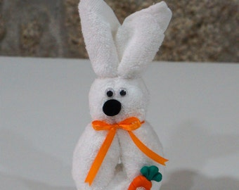 Easter Bunny Origami with carrot - Face Cloth Towel