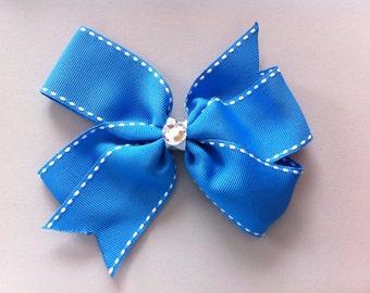 Blue with white edges Pinwheel Hair Bow